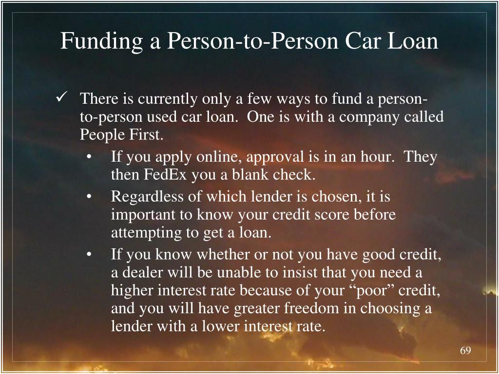 Funding a Person-to-Person Car Loan