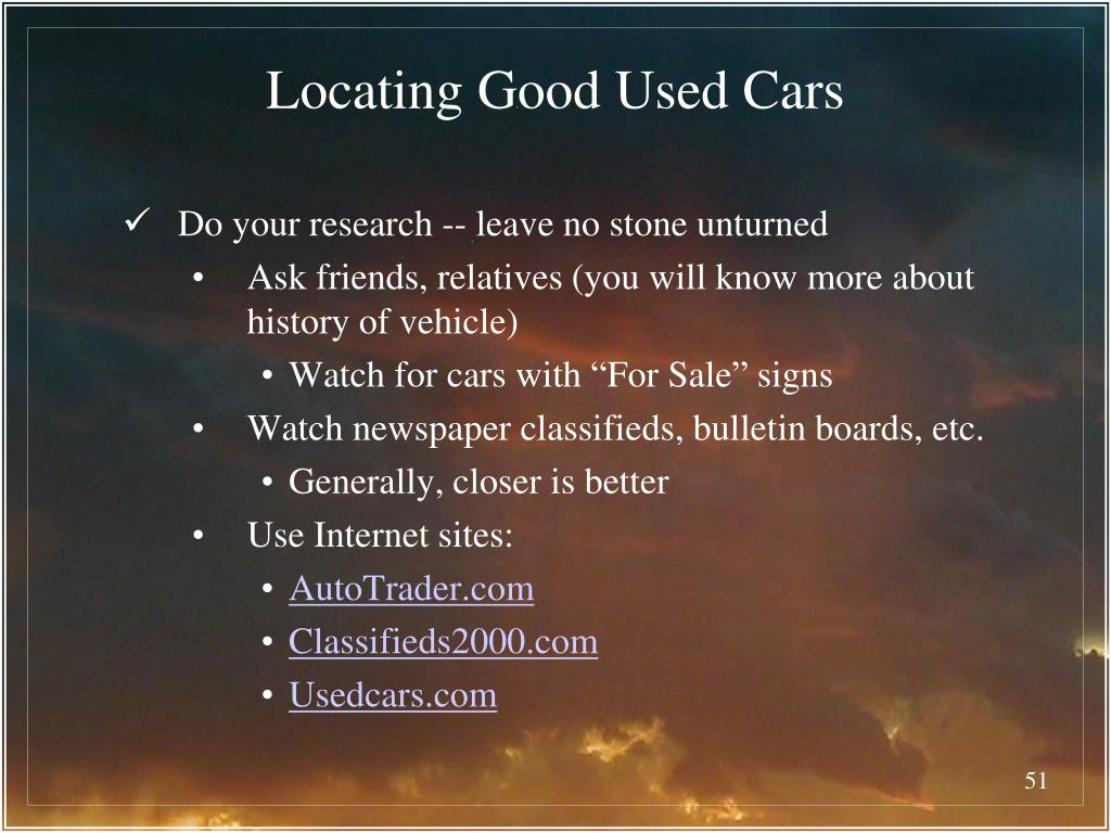 Locating Good Used Cars