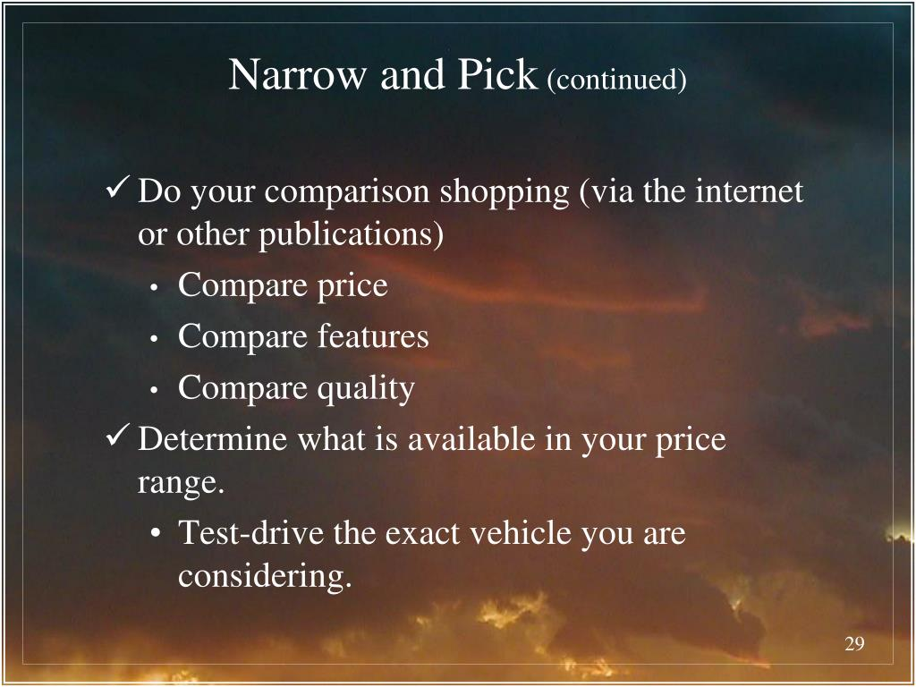 Narrow and Pick
