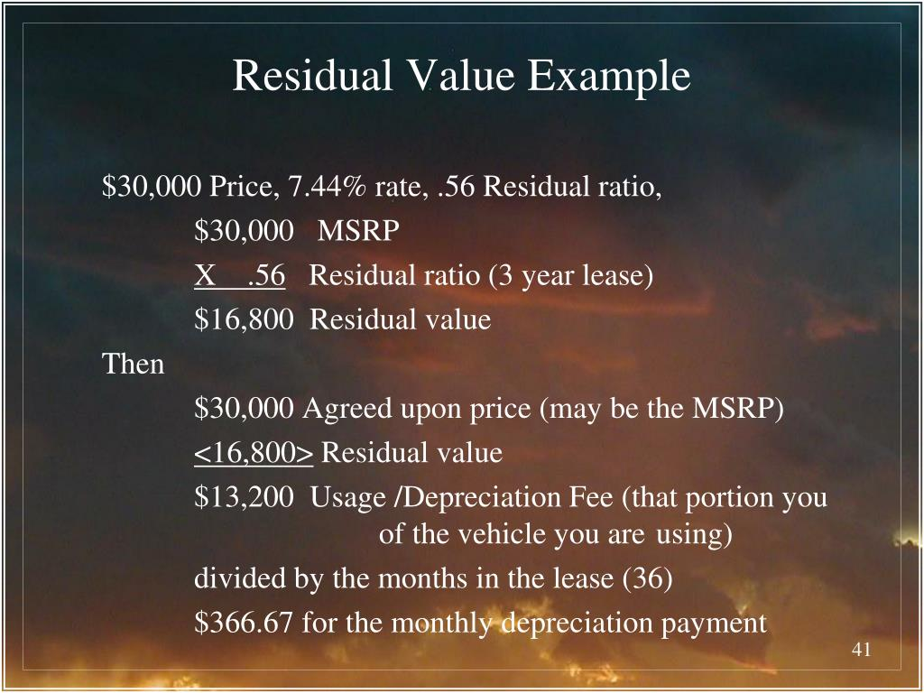 Residual Value Example