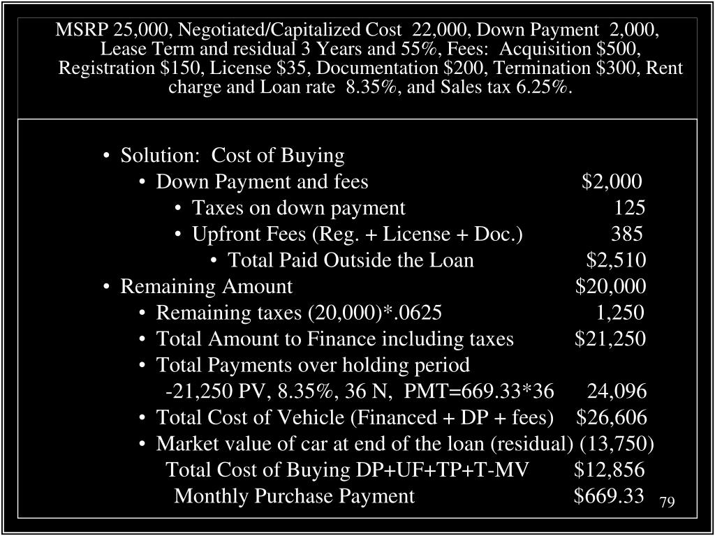 MSRP 25,000, Negotiated/Capitalized Cost  22,000, Down Payment  2,000, Lease Term and residual 3 Years and 55%, Fees:  Acquisition $500, Registration $150, License $35, Documentation $200, Termination $300, Rent charge and Loan rate  8.35%, and Sales tax 6.25%.