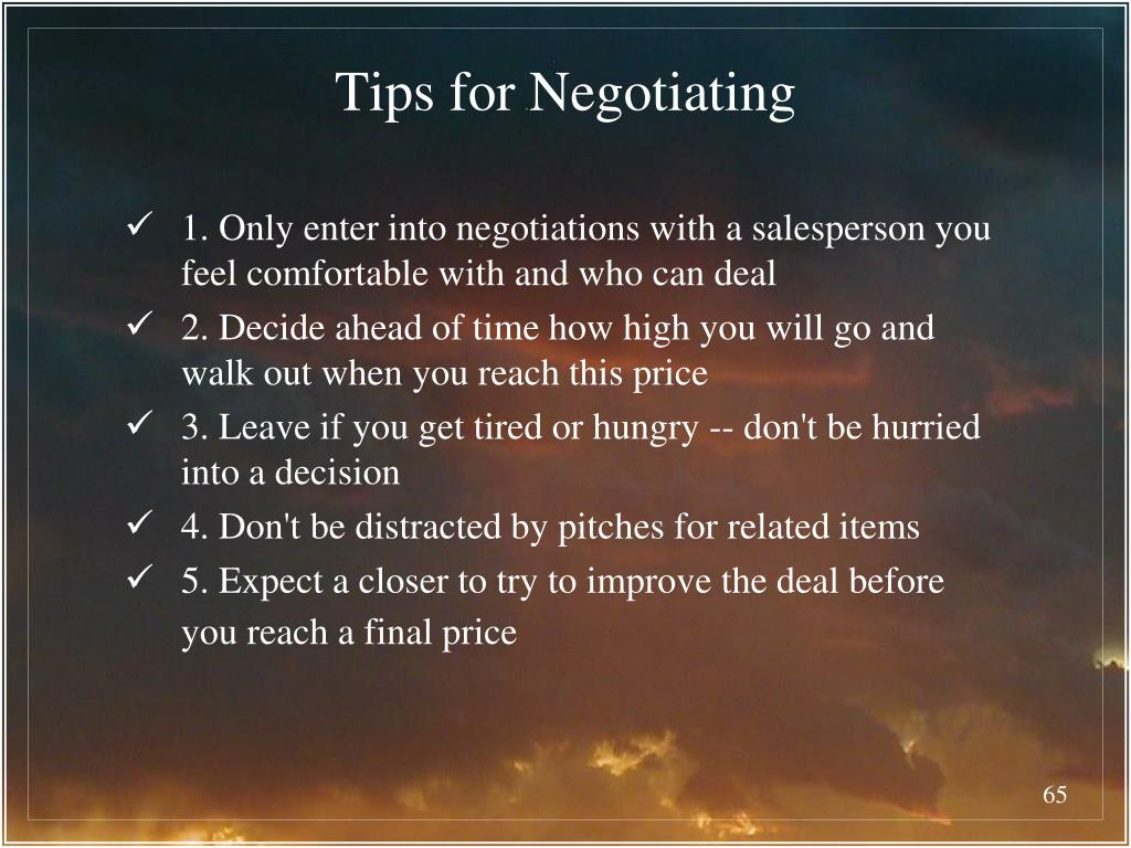 Tips for Negotiating