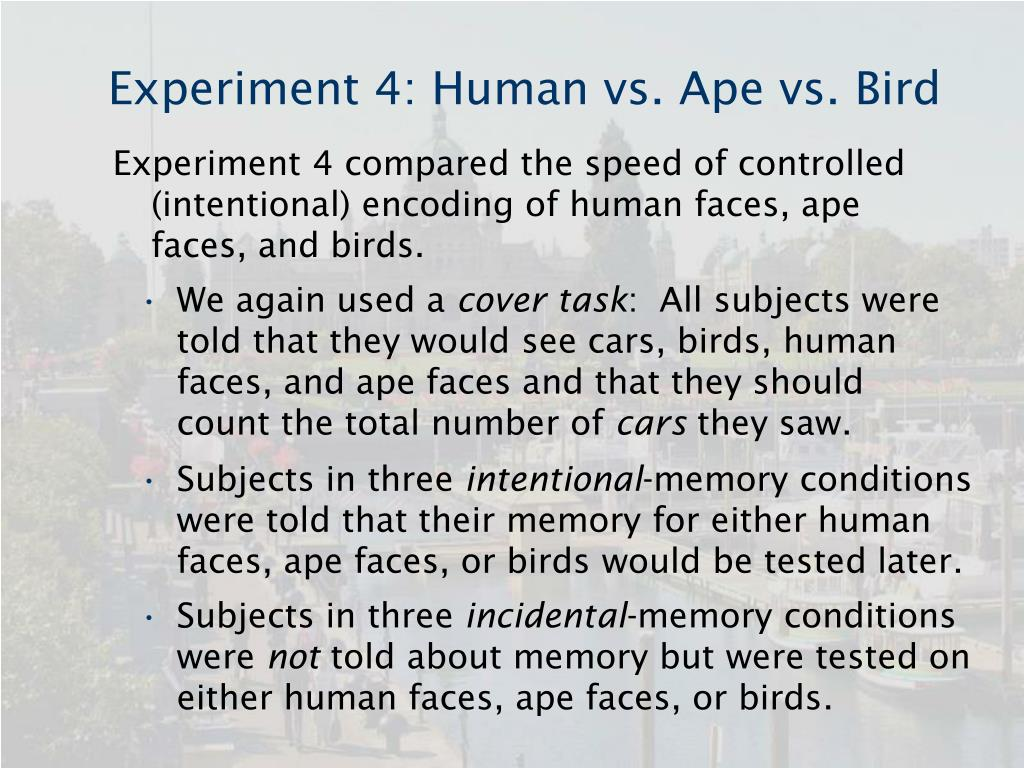 Experiment 4: Human vs. Ape vs. Bird