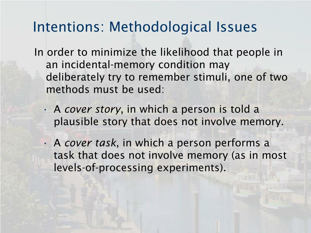 Intentions: Methodological Issues