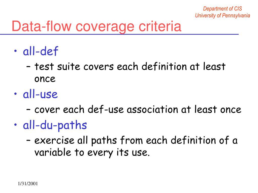 Data-flow coverage criteria