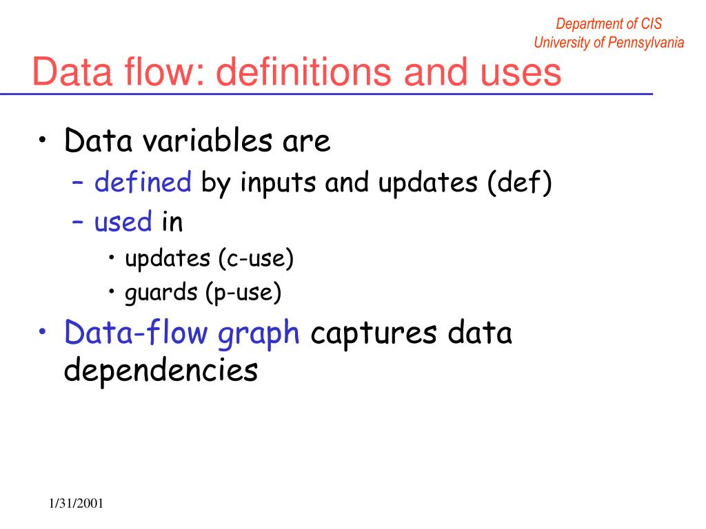 Data flow: definitions and uses