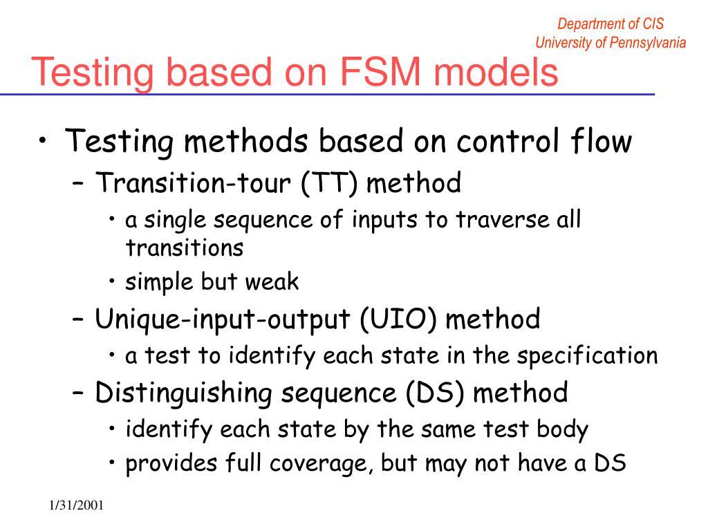 Testing based on FSM models
