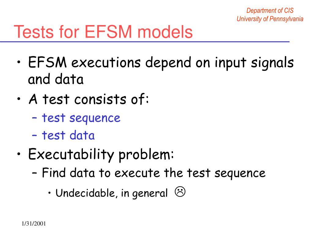 Tests for EFSM models