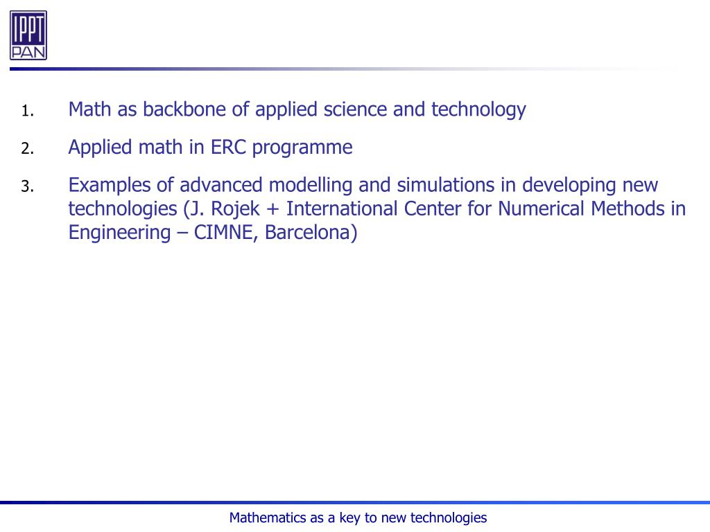 Math as backbone of applied science and technology