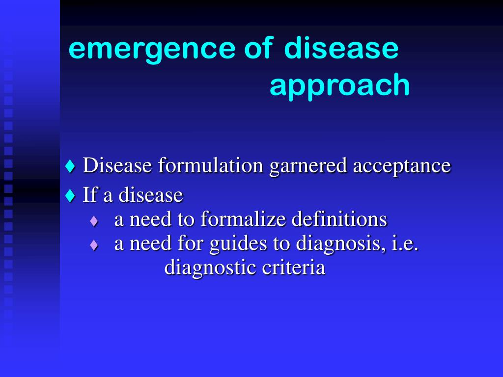 emergence of disease  approach