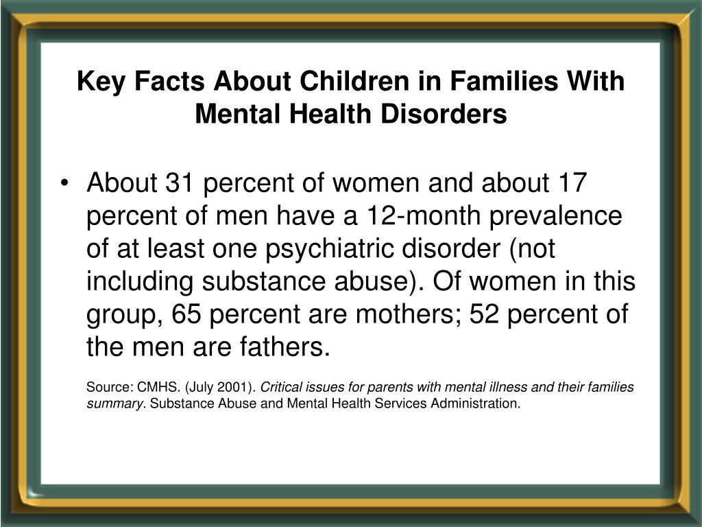 Key Facts About Children in Families With Mental Health Disorders