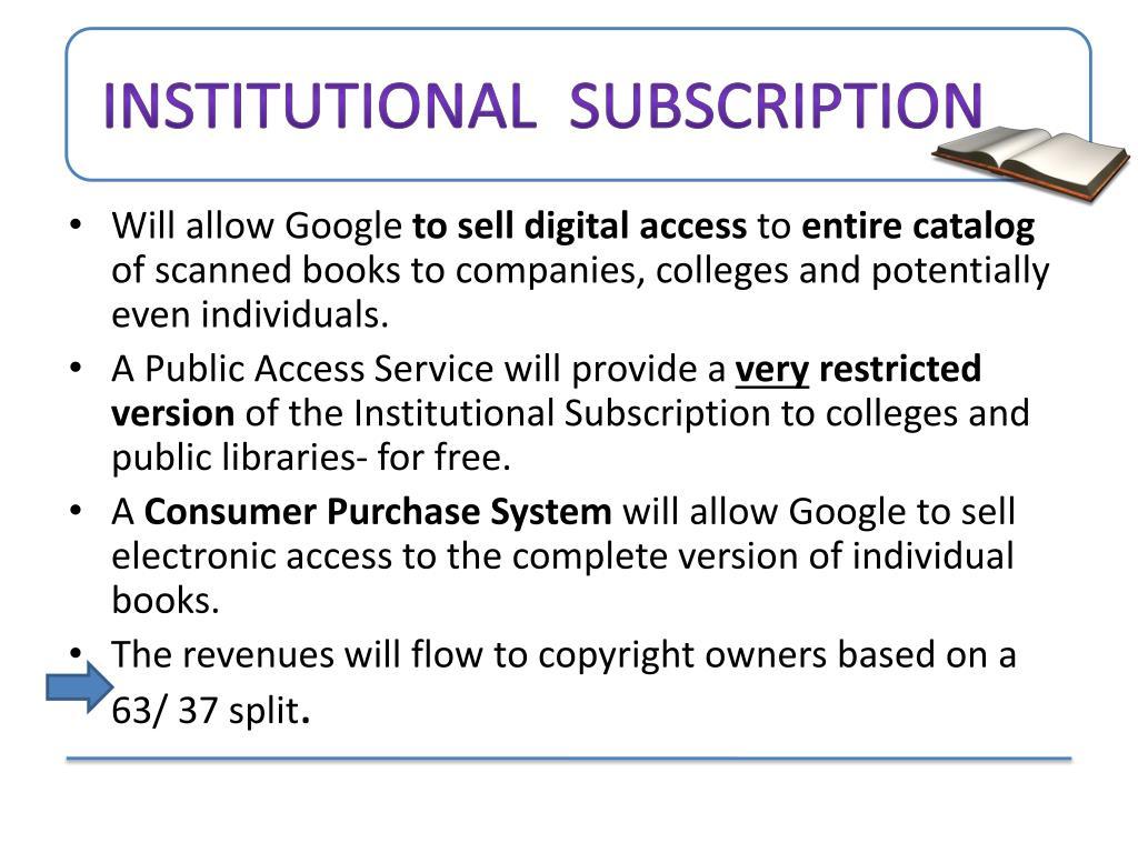 Institutional  subscription