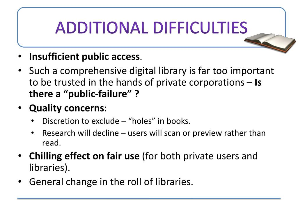 Additional difficulties