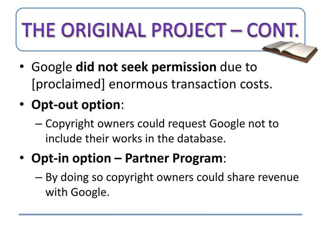 The original Project – Cont.