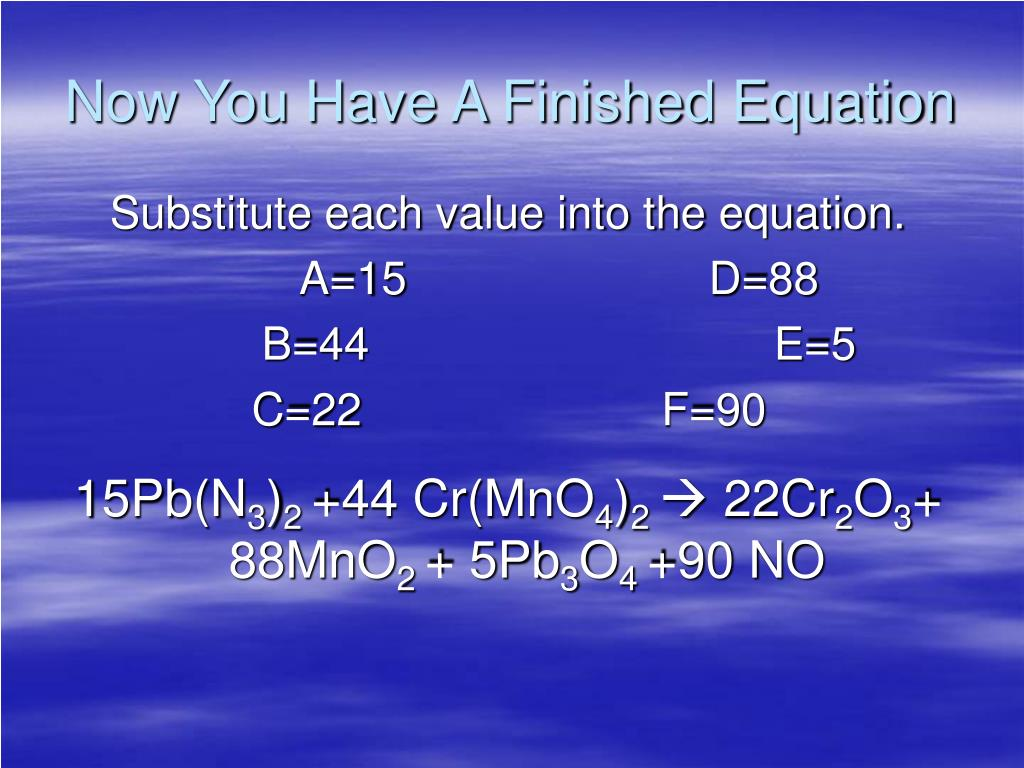Now You Have A Finished Equation