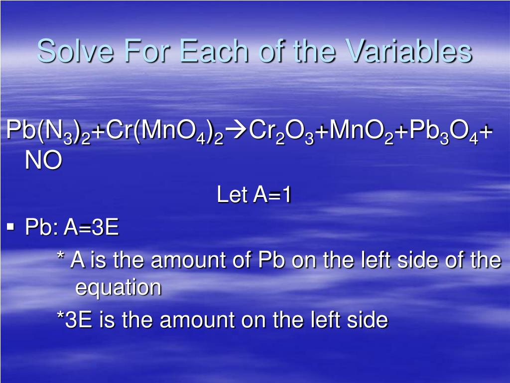 Solve For Each of the Variables