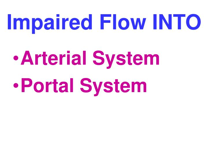 Impaired Flow INTO
