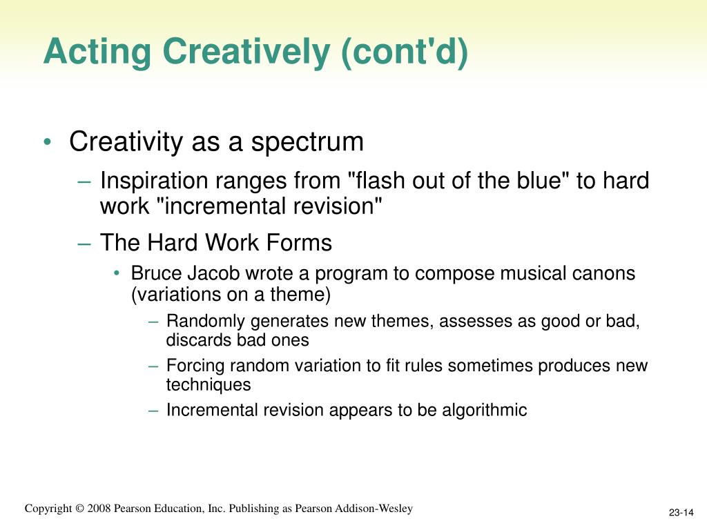 Acting Creatively (cont'd)