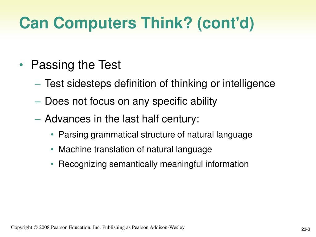 Can Computers Think? (cont'd)