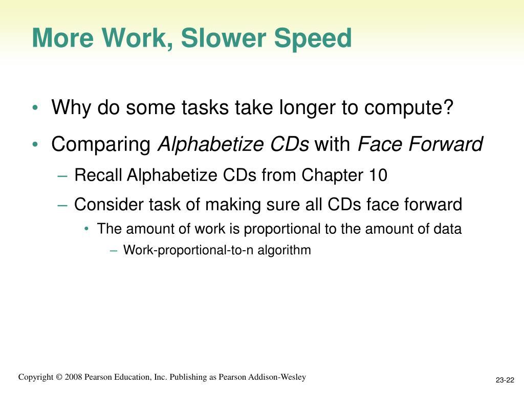 More Work, Slower Speed