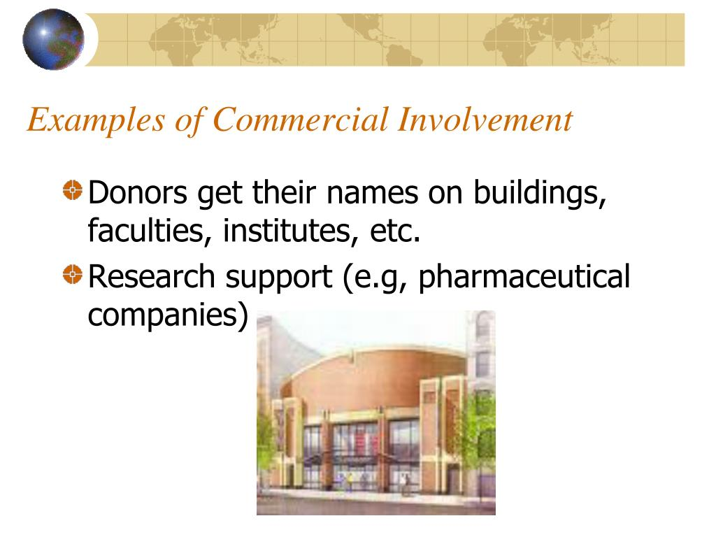 Examples of Commercial Involvement