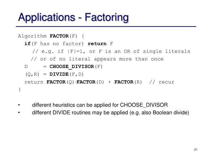Applications - Factoring