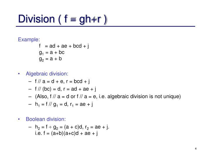 Division ( f = gh+r )