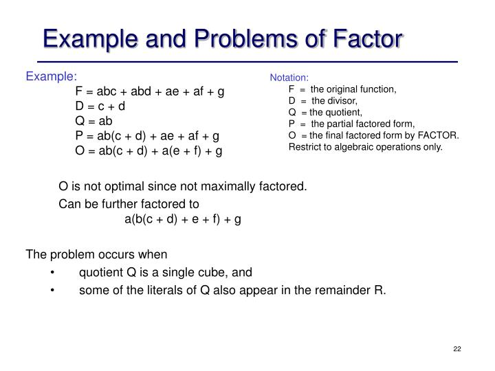 Example and Problems of Factor