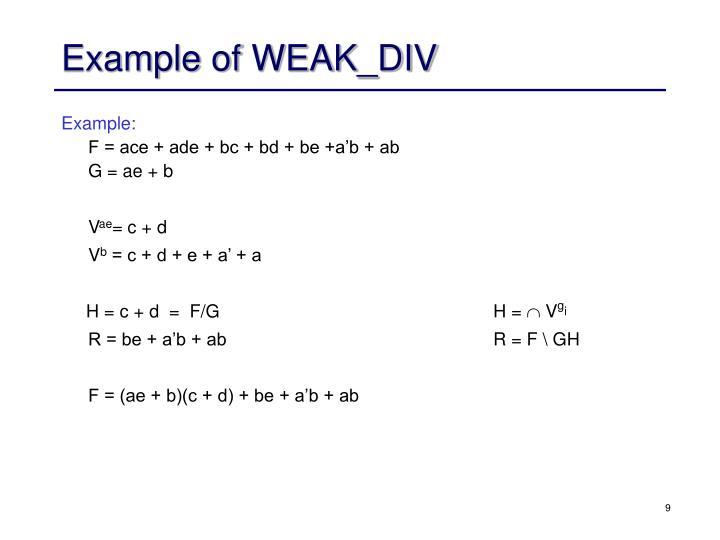 Example of WEAK_DIV
