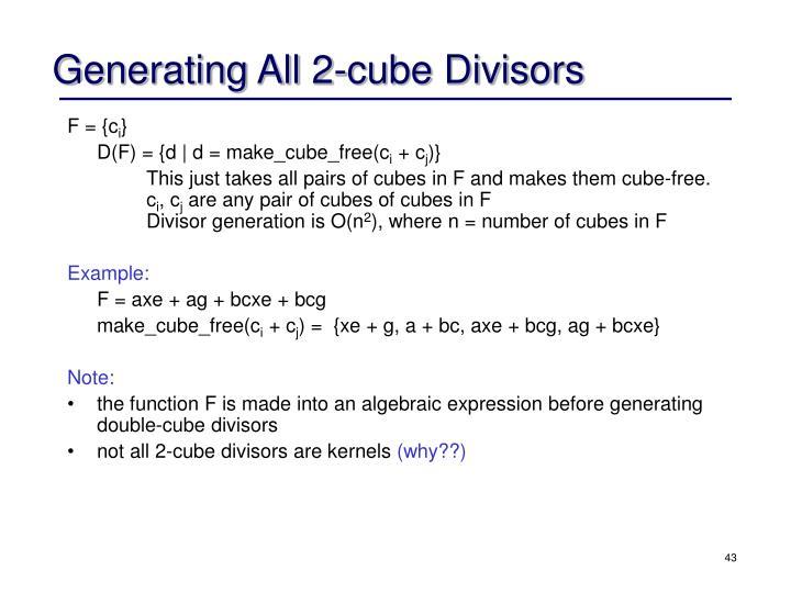 Generating All 2-cube Divisors