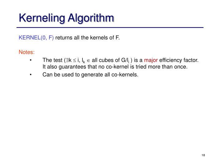 Kerneling Algorithm