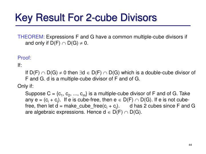 Key Result For 2-cube Divisors