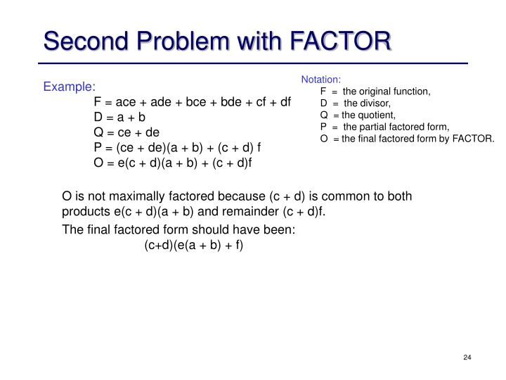 Second Problem with FACTOR