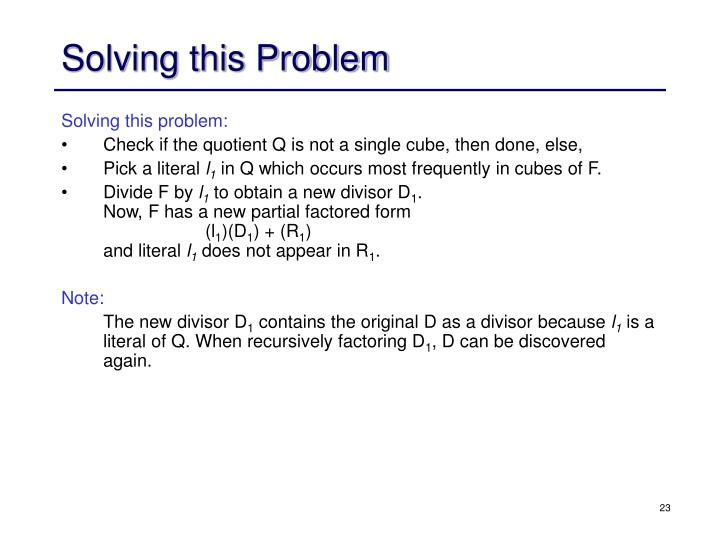 Solving this Problem