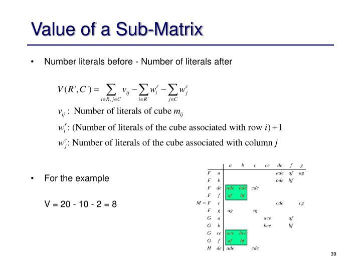 Value of a Sub-Matrix