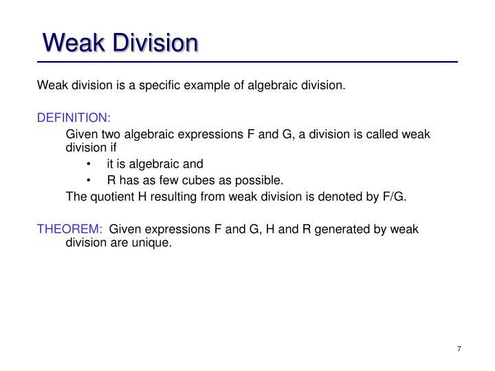 Weak Division
