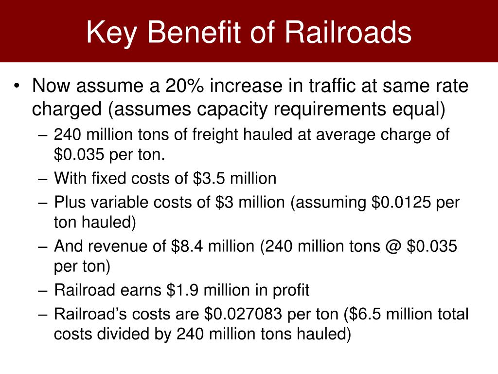 Key Benefit of Railroads