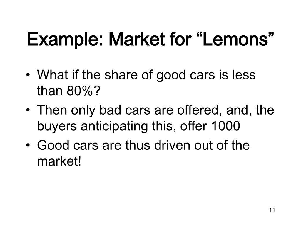 """Example: Market for """"Lemons"""""""
