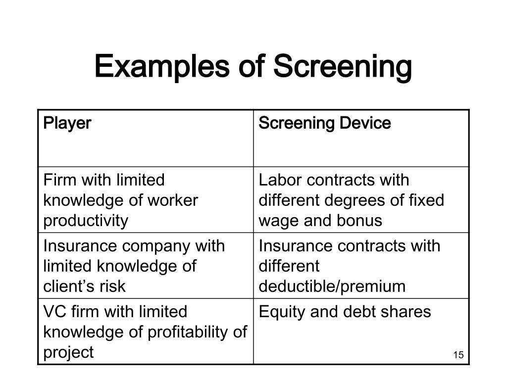 Examples of Screening
