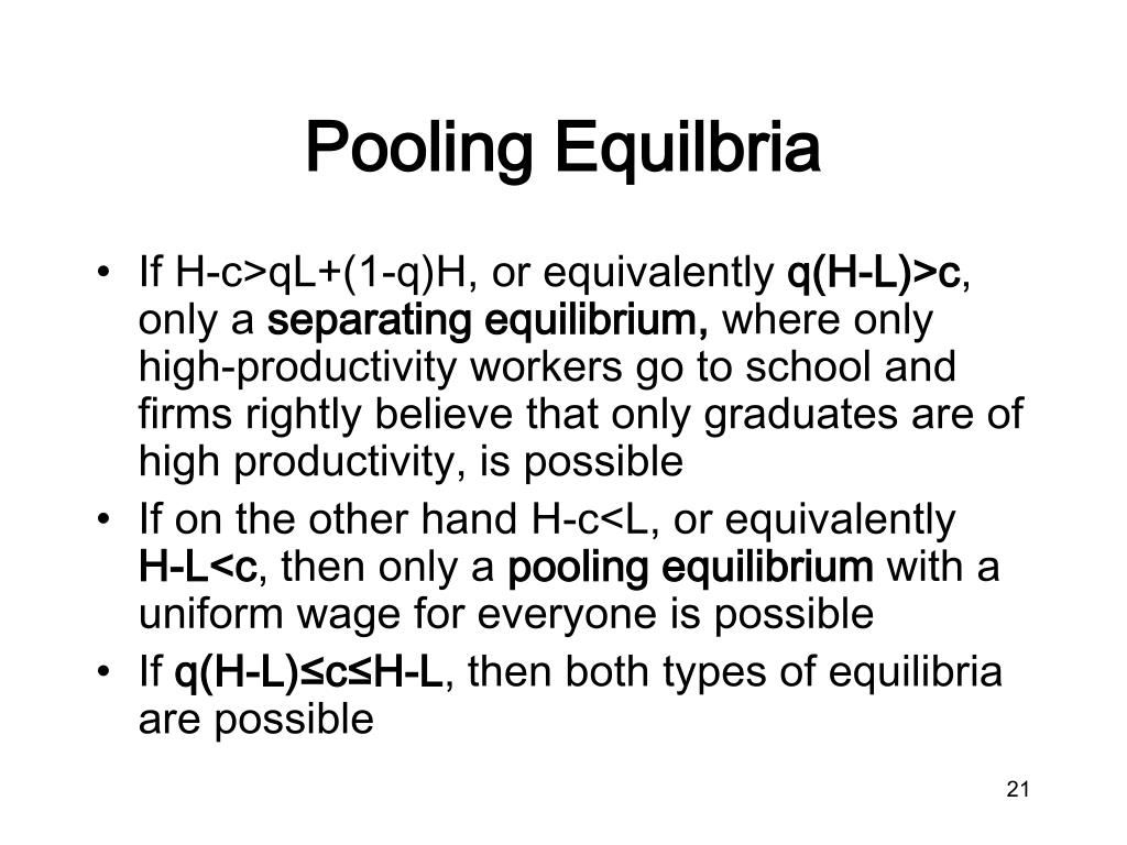Pooling Equilbria
