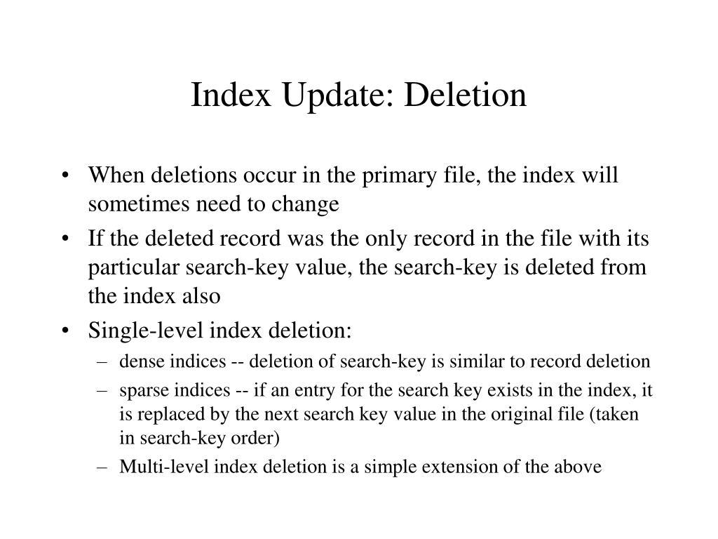 Index Update: Deletion