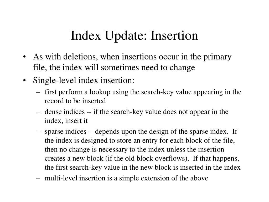 Index Update: Insertion