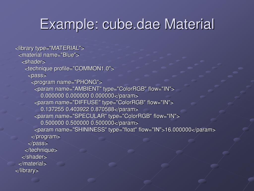Example: cube.dae Material