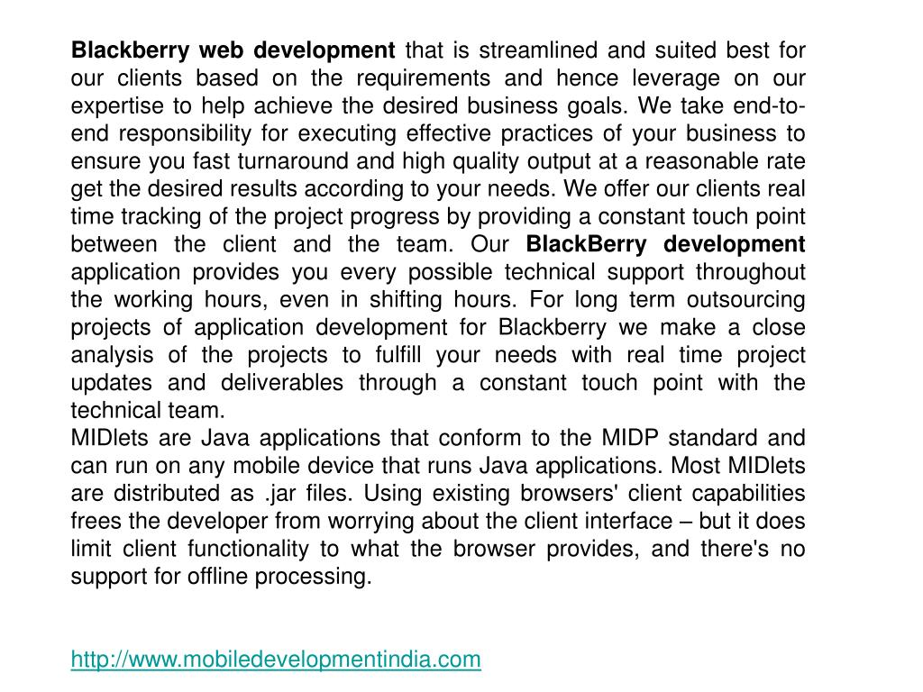 Blackberry web development