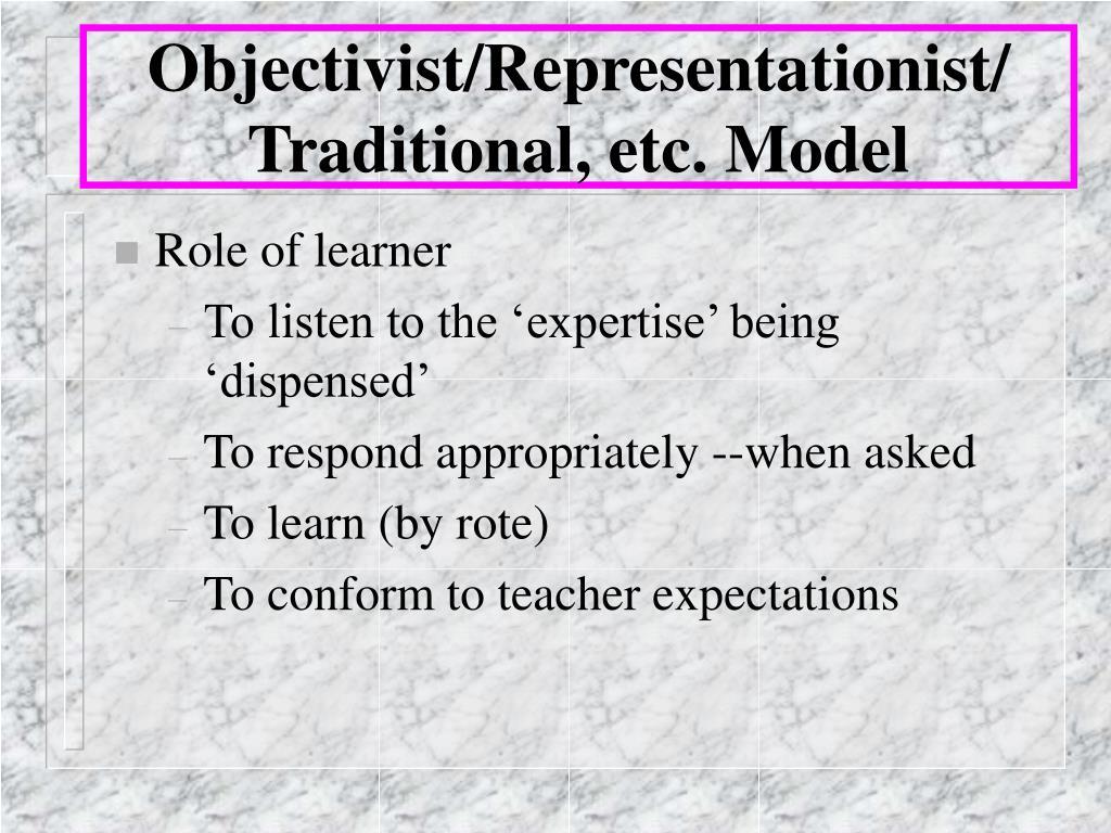 Objectivist/Representationist/