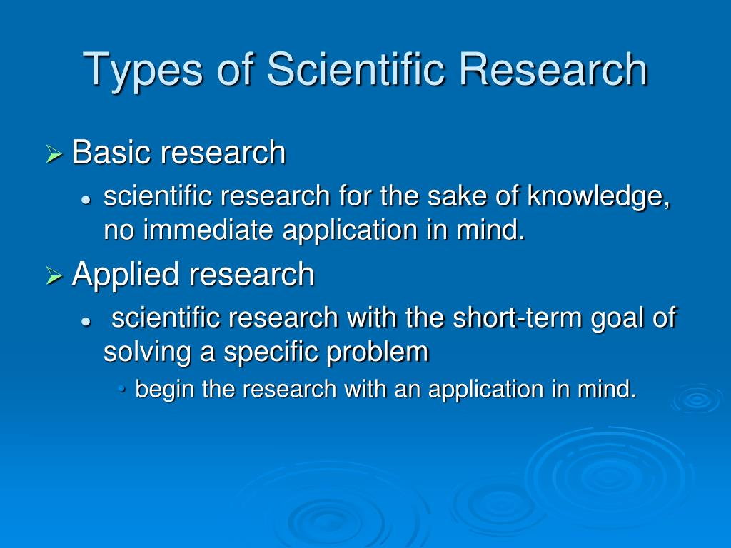 Types of Scientific Research