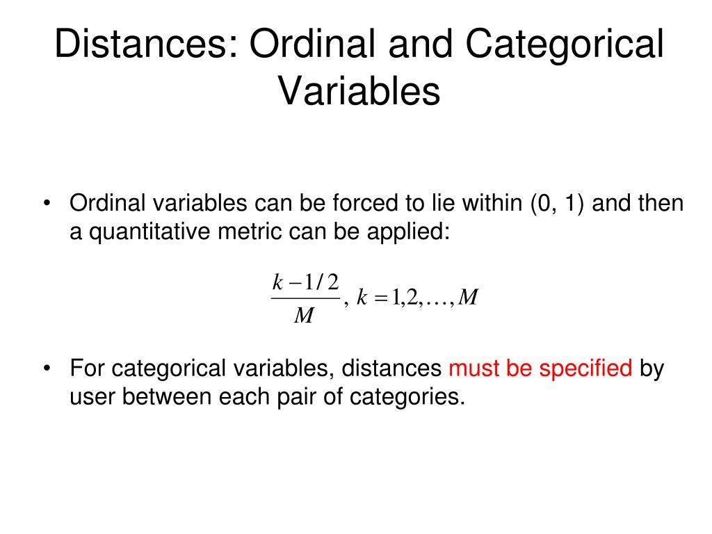 Distances: Ordinal and Categorical Variables