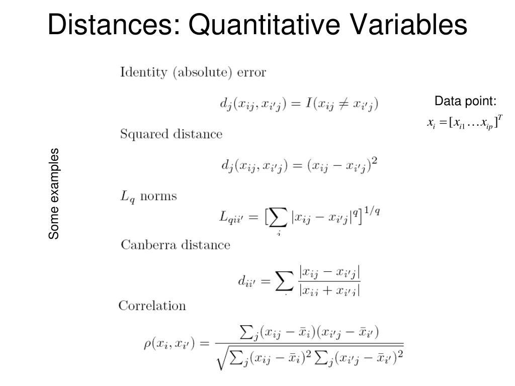 Distances: Quantitative Variables