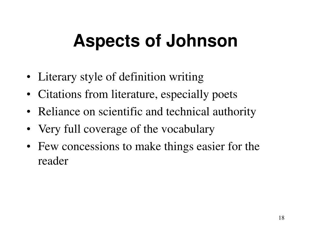 Aspects of Johnson