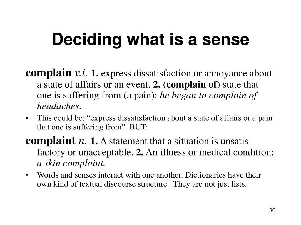 Deciding what is a sense